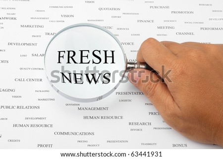 The word FRESH NEWS is magnified.