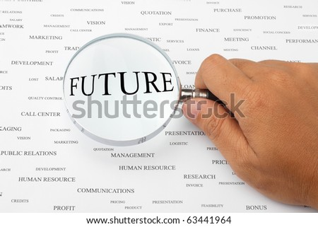 The word FUTURE is magnified. - stock photo