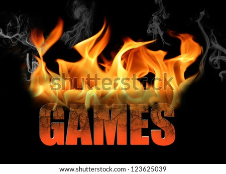 The word Games in flame text for many conceptual ideas around gaming, and gamers - stock photo