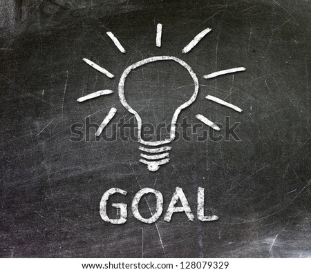 The word goal and light bulb