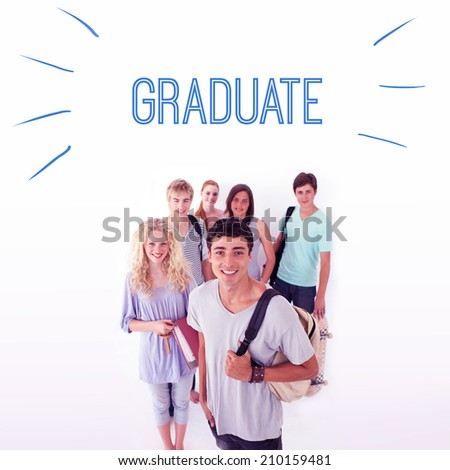 The word graduate against smiling students - stock photo