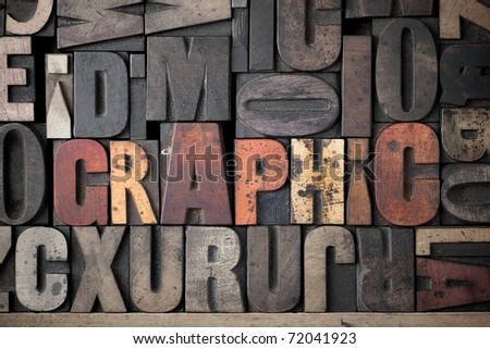 The word 'Graphic' spelled out in very old letterpress blocks. - stock photo