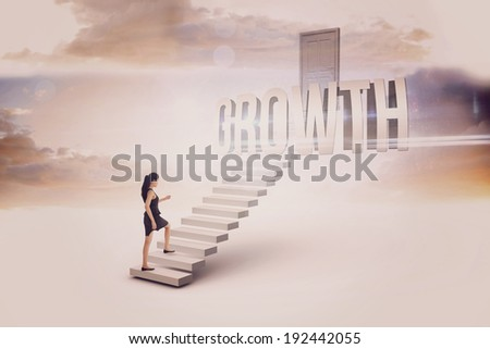 The word growth and businesswoman stepping up against white steps leading to closed door - stock photo