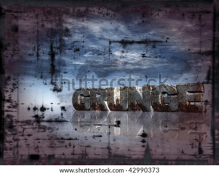 the word grunge in rusty metal  - illustration