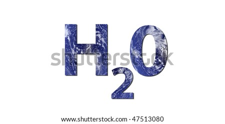 The word H2O is written with letters made from water. Water picture from NASA. - stock photo