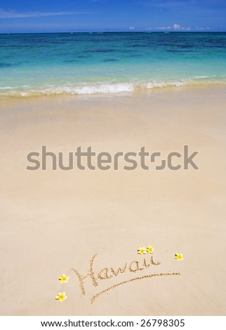 "The word ""Hawaii"" is written on a sandy beach with plumeria blossoms alongside"