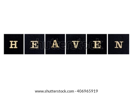 the word heaven embroidered in gold onto black squares - stock photo
