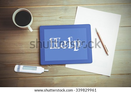 The word help and glucose monitor against high angle view of digital tablet and document with coffee - stock photo