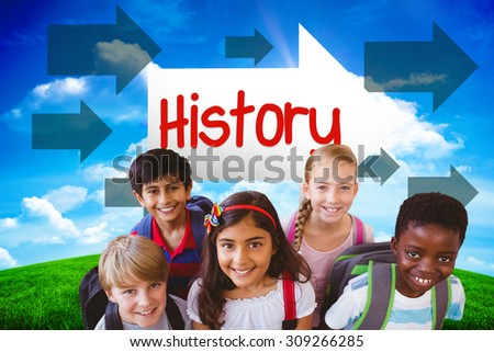 The word history and smiling little school kids in school corridor against green hill under blue sky - stock photo