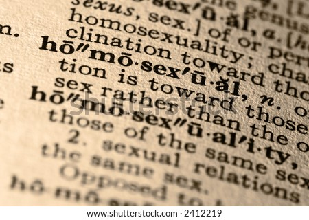 The word homosexual. Close-up of the word homosexual in a dictionary. - stock photo