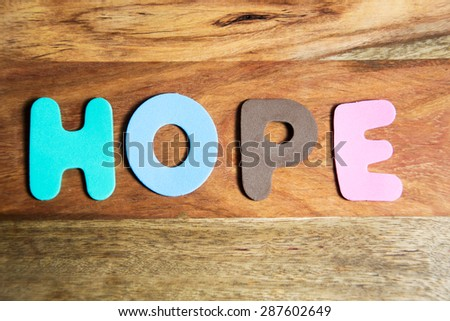the word hope in colorful letters - stock photo