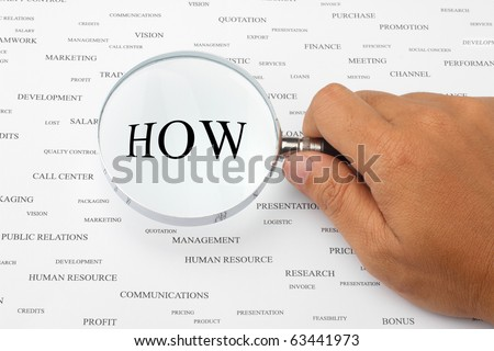 The word HOW is magnified. - stock photo