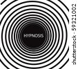 The word Hypnosis inside a consuming hypnotic black and white spiral - stock vector