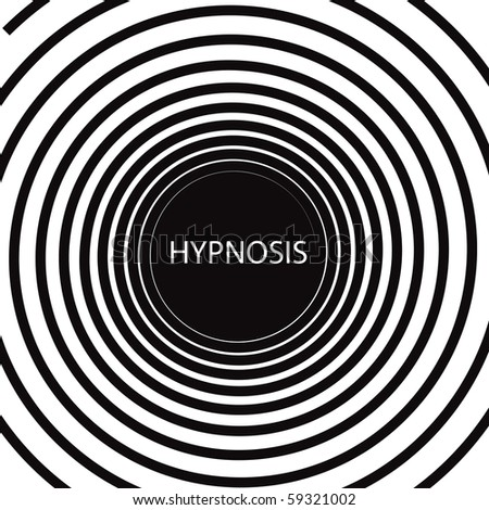 The word Hypnosis inside a consuming hypnotic black and white spiral - stock photo