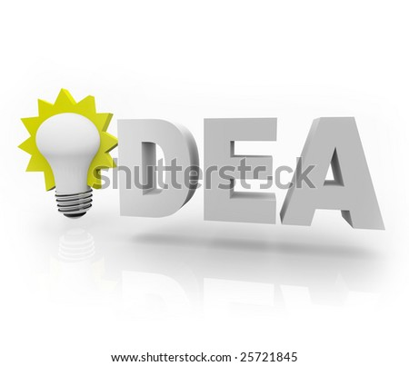 The word Idea with an illuminated light bulb - stock photo