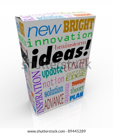 The word Ideas on a product box you could buy at a store for instant inspiration, innovation, concepts, brainstorms, inventions and plans - stock photo