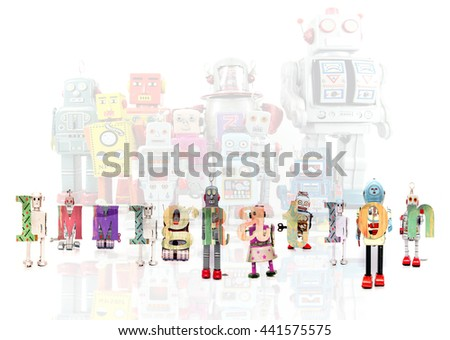The Word  immigration with retro robot toys  - stock photo