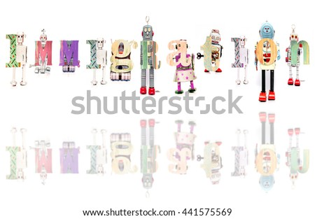 The Word  immigration with retro robot toys with reflection  - stock photo