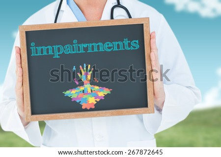The word impairments and doctor showing chalkboard against field and sky - stock photo