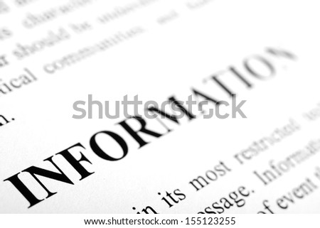 The word Information shot with artistic selective focus. - stock photo