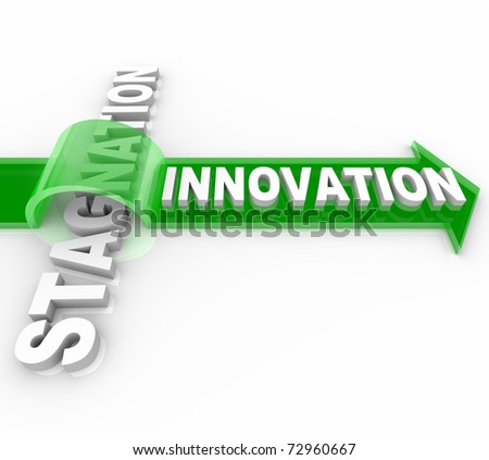 The word Innovation on an arrow jumping over the word Stagnation, symbolizing the forward motion of creative change over the status quo - stock photo