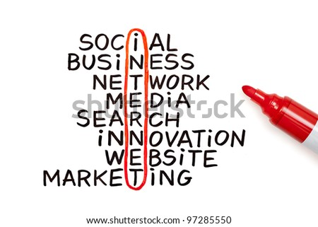 The word Internet highlighted with red marker in a handwritten chart - stock photo