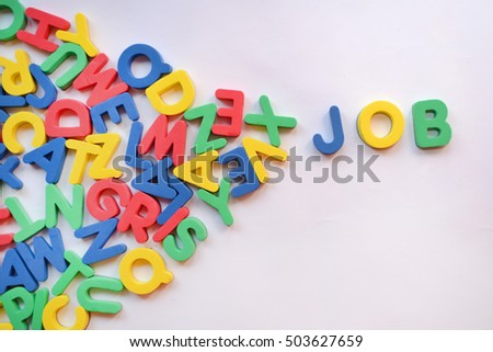 the word JOB made of colorful letters on white background