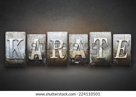 The word KARATE written in vintage letterpress type - stock photo