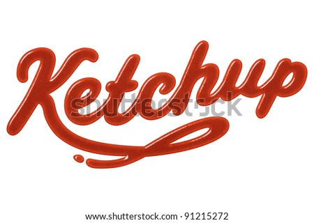 "The word ""ketchup"" written with ketchup - stock photo"