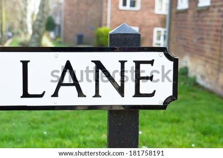 The word lane on a road name sign - stock photo
