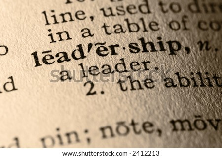 The word leadership. Close-up of the word leadership in a dictionary. - stock photo