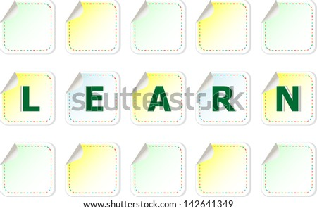 The word learn on a stickers label tag set, raster - stock photo