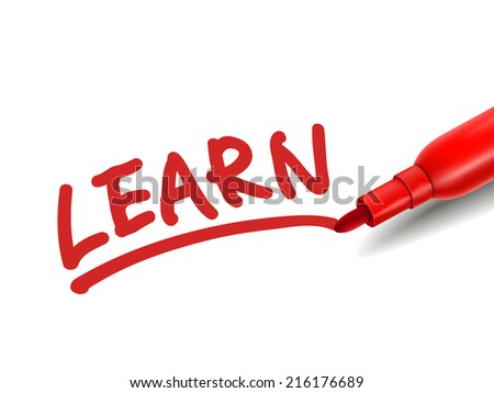 the word learn with a red marker over white - stock photo