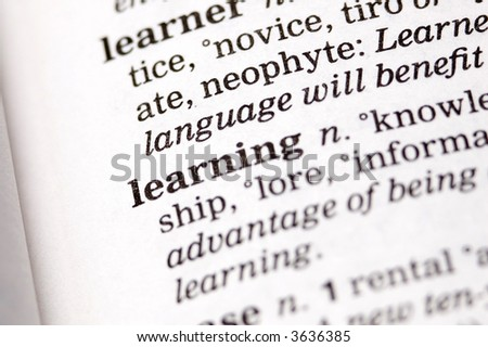 The word learning written in a thesaurus - stock photo