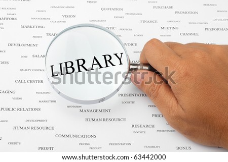 The word LIBRARY is magnified.