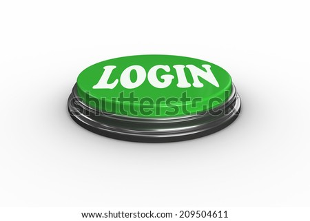 The word login on digitally generated green push button
