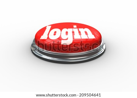 The word login on digitally generated red push button