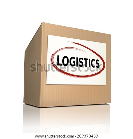 the word logistics on a paper box over white background - stock photo