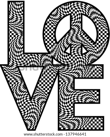 The word love with peace symbol in a black and white checkered pattern. Type style is my own design. - stock photo