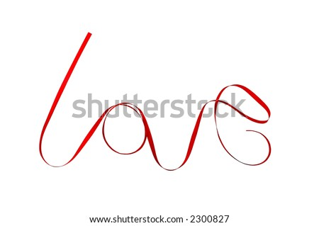 """The word """"love"""" written with red ribbon. - stock photo"""