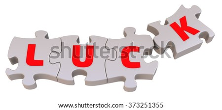 "The word ""LUCK"" is collected from puzzles. Red letters on the playing pieces of the puzzle are collected in the word ""LUCK"". The three-dimensional illustration. Isolated"