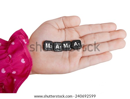 The word mom, composed of letters in a child's hands, on a white background - stock photo