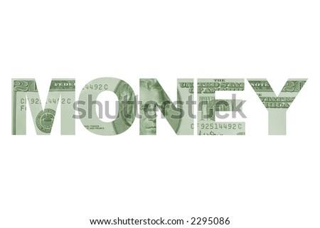 "The word ""money"" filled with twenty dollar bills. - stock photo"