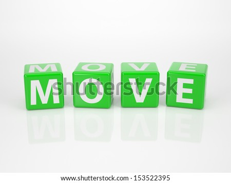 The Word Move out of green Letter Dices - stock photo