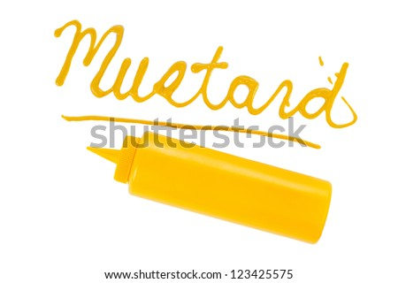 The word ??Mustard written using ketchup - stock photo