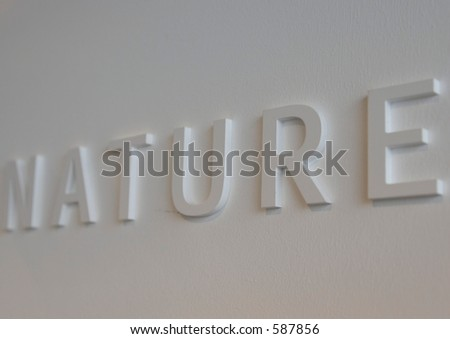 "The word ""nature"" embossed on a white wall, partially blurred"