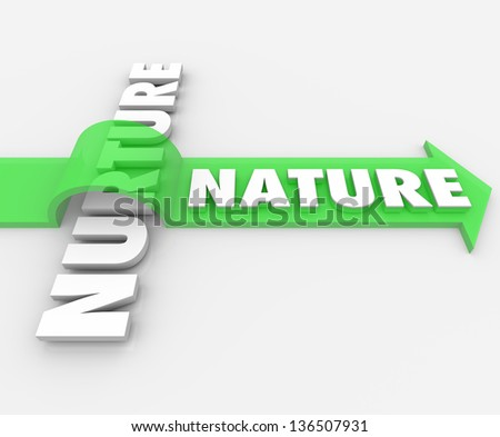 The word Nature on an arrow jumping over the term Nurture to symbolize how one's genetic coding takes precedence over surroundings and society influences - stock photo