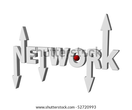 the word network with arrows and red ball - 3d illustration