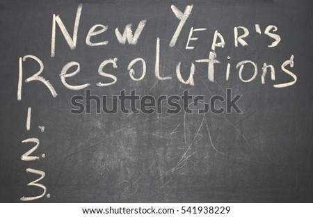 The word New Year's resolution written on the blackboard