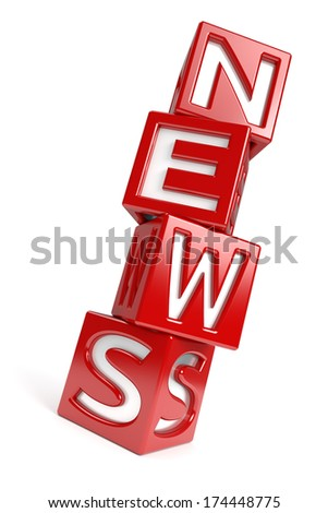 """The word """"NEWS"""" created with dices on white background. Computer generated image with clipping path. - stock photo"""